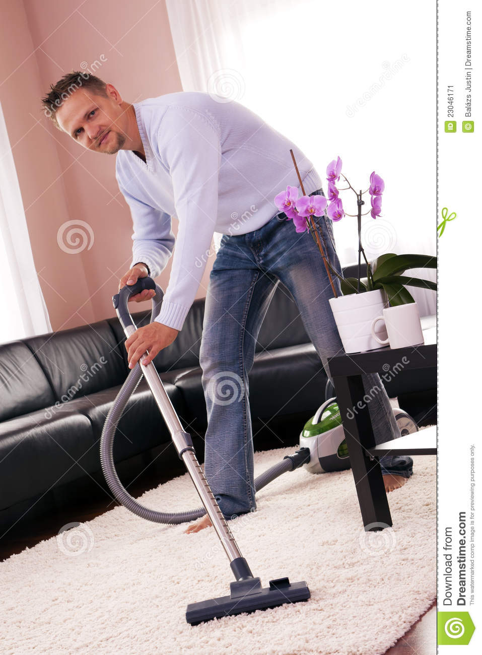 He Cleaned The Carpet  Vacuum Cleaner  Stock Image