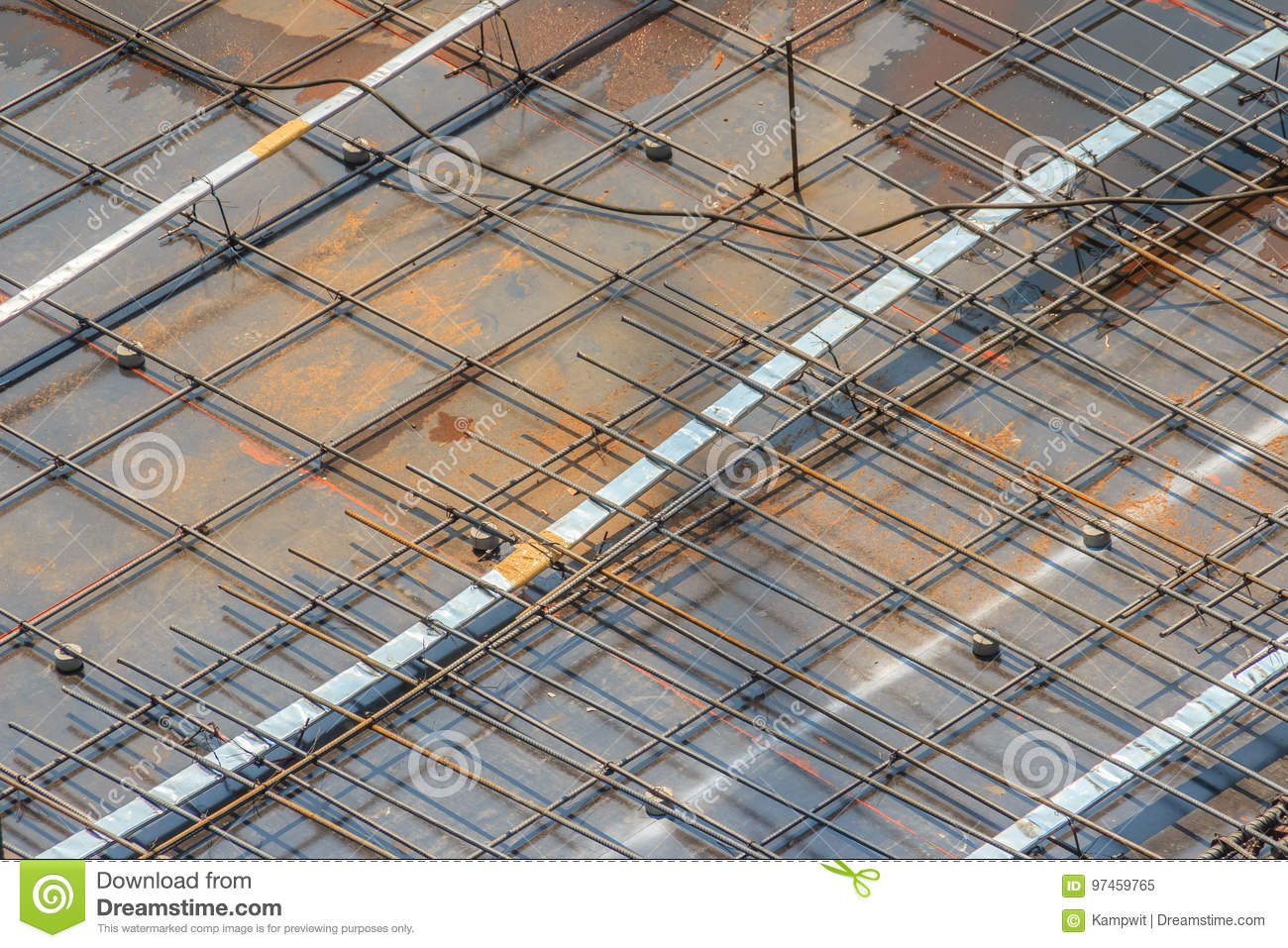Cleaned Floor Slab Reinforcement Bar With Post Tension Cable Ten