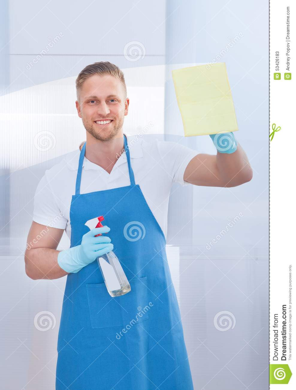 Cleaner Cleaning A Pane Of Glass Stock Photo Image 53426183