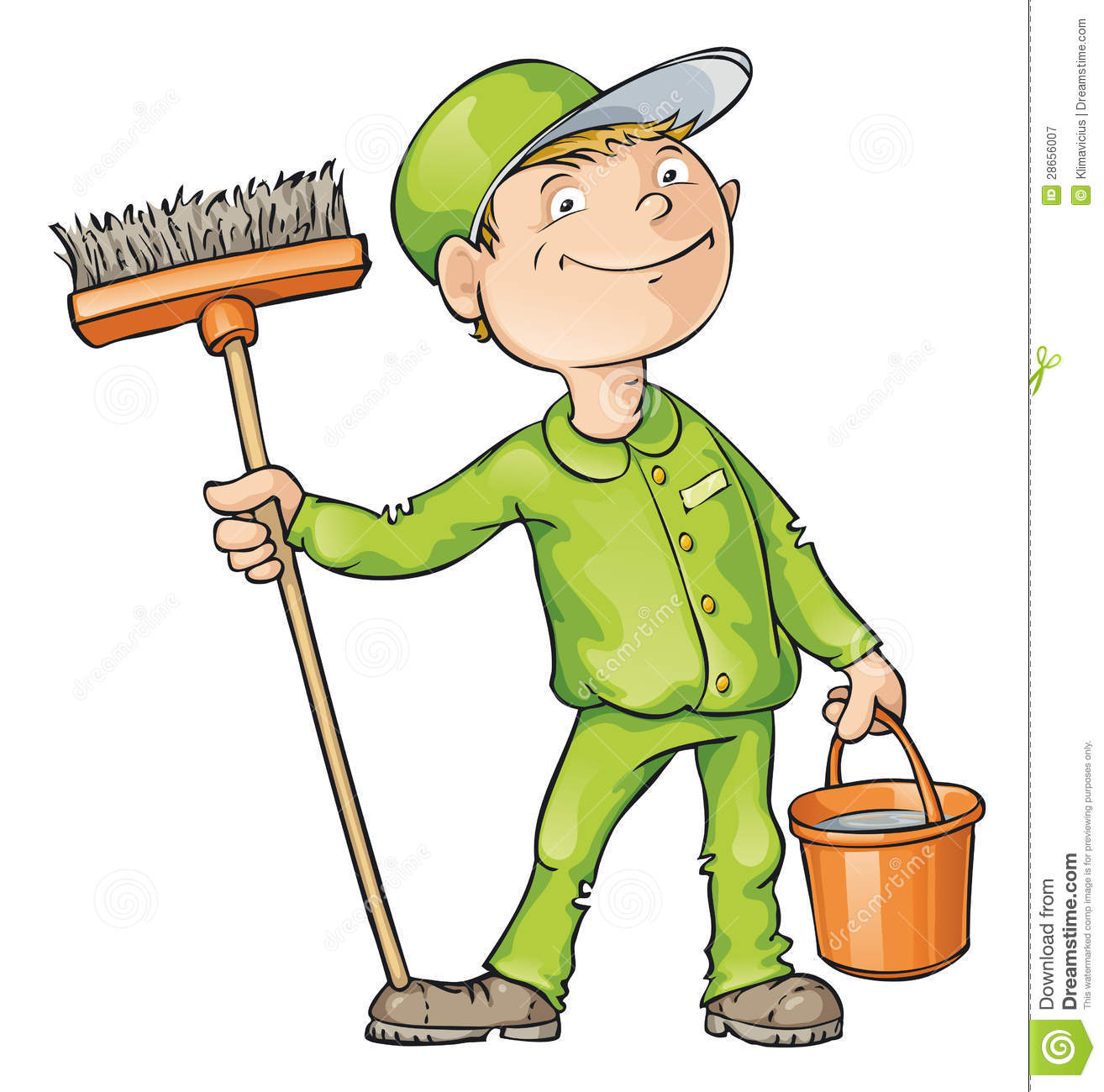 Cleaner Holding A Brush And Bucket Royalty Free Stock