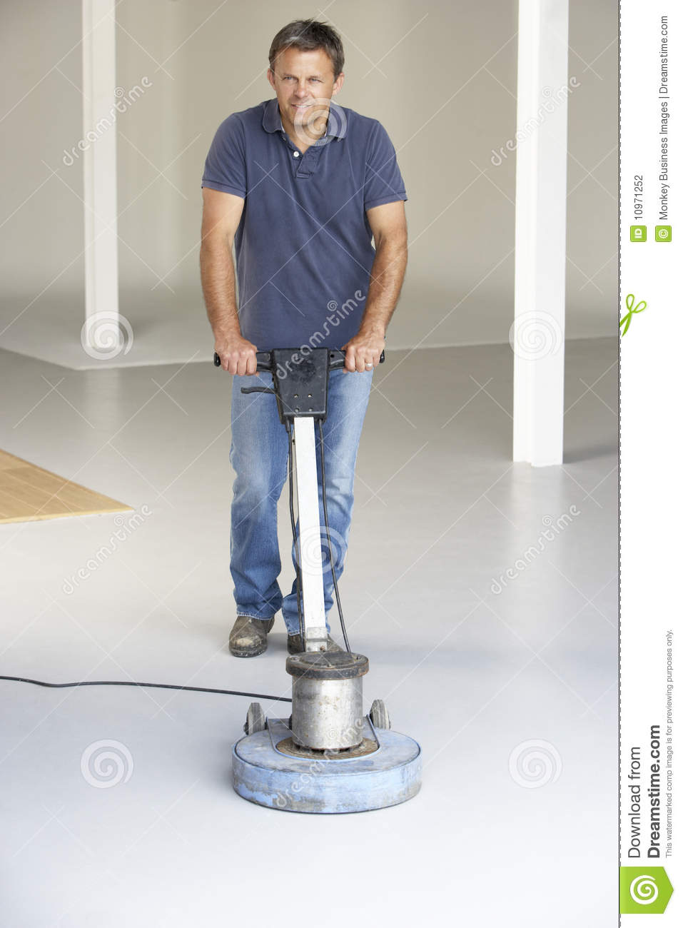 Cleaner Polishing Office Floor Stock Photo Image Of