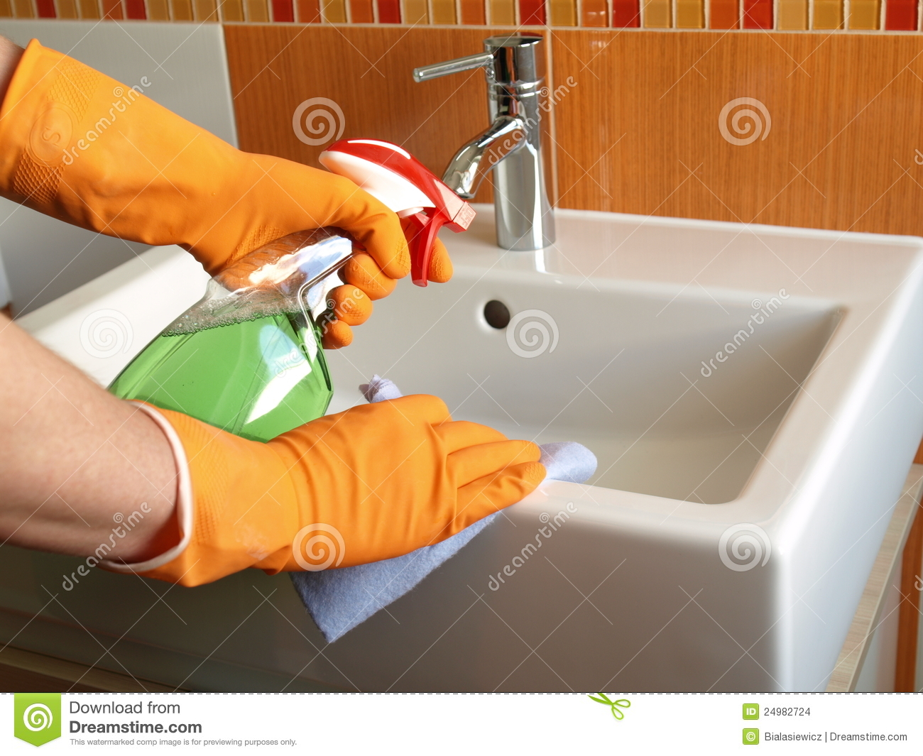 Cleaning Bathroom Sink Stock Photo Image Of Bath Clean