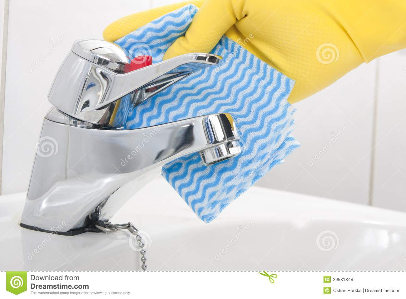 Cleaning Bathroom Tap Royalty Free Stock Photos Image