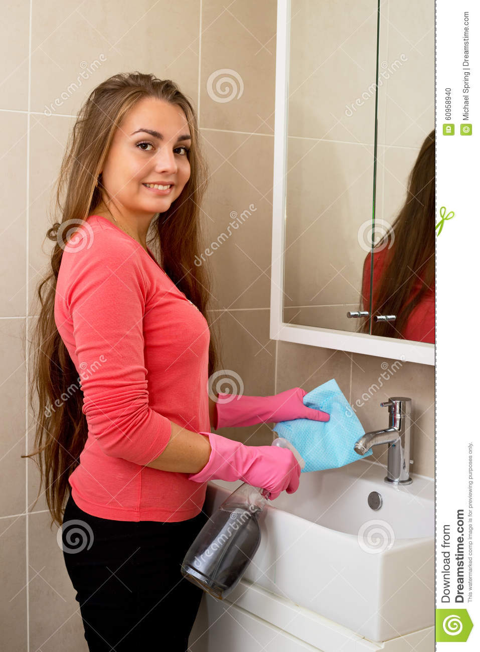 Cleaning Bathroom Stock Photo Image 60958940