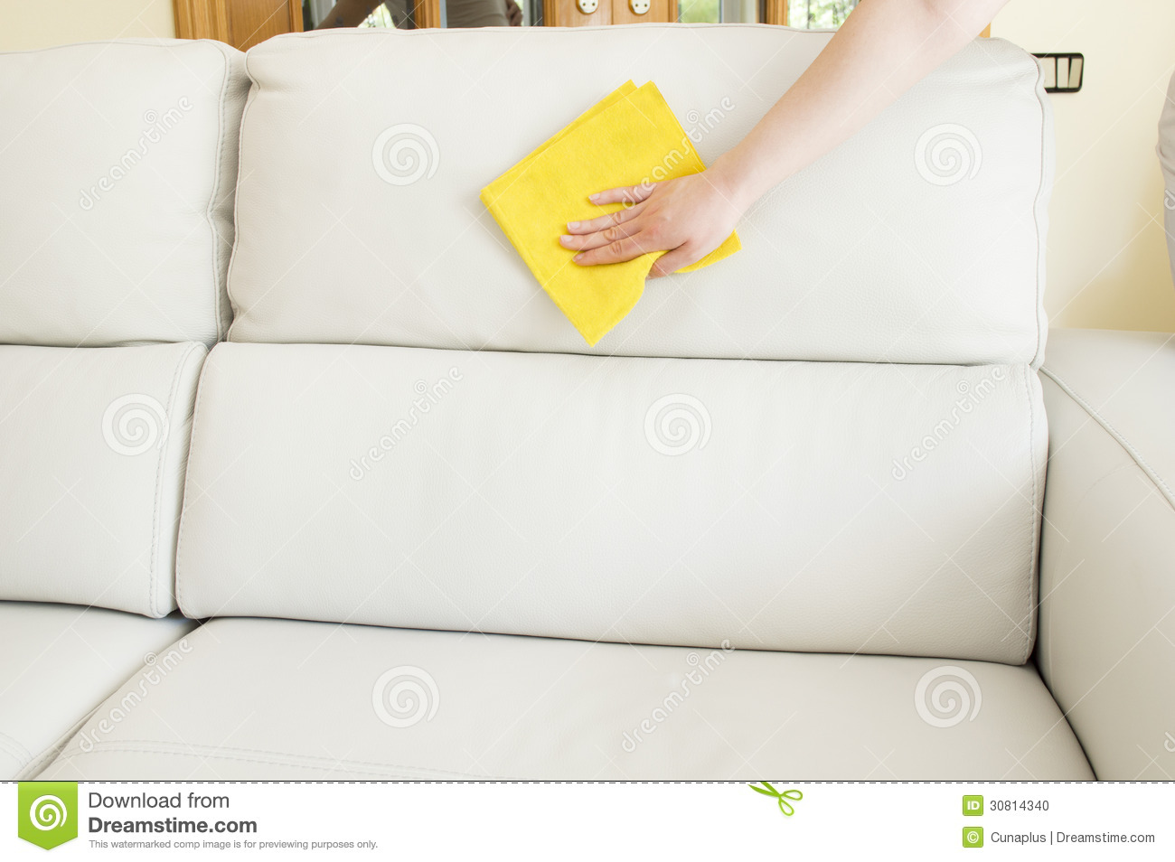 Cleaning A Beige Sofa Stock Photo Image 30814340