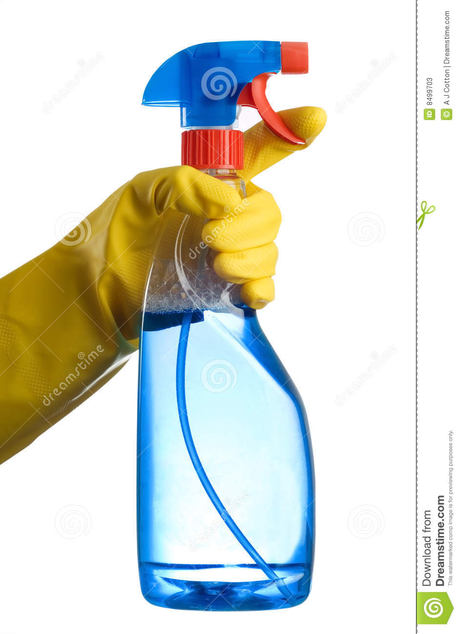 Cleaning Bottle And Hand Stock Photos Image 8499703