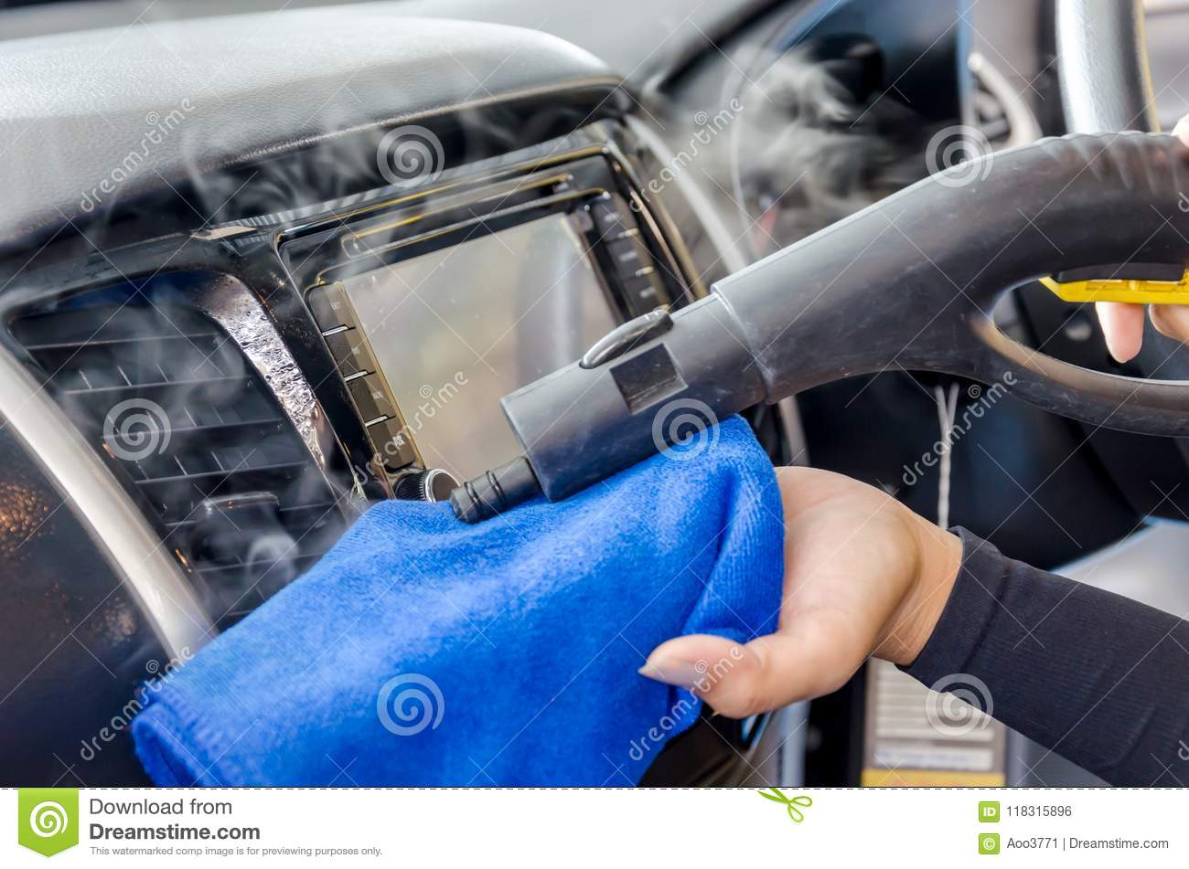 Cleaning Of Car Air Conditioner Stock Photo - Image of