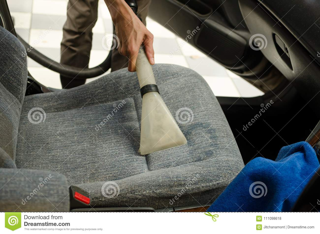 Cleaning Of Car Seat With Wet Vacuum Cleaner