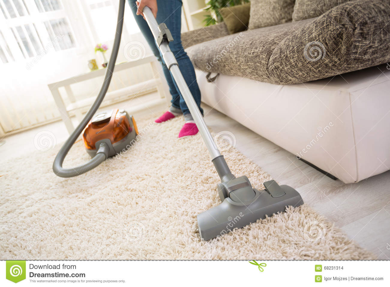 Cleaning Carpet In Living Room Stock Photo Image 68231314