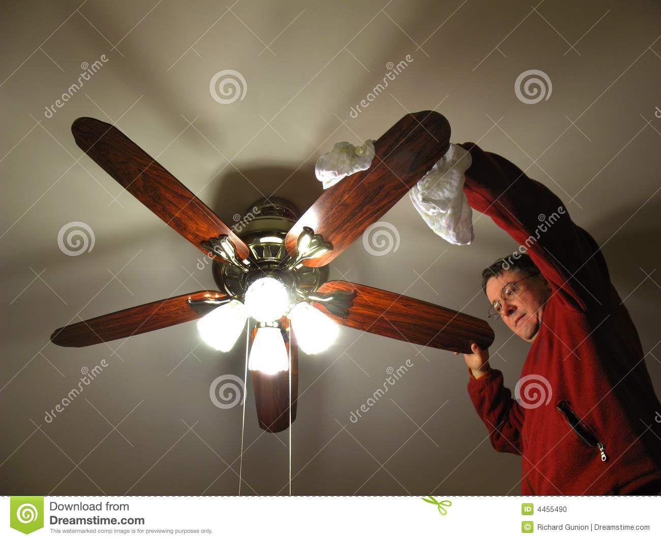 Cleaning The Ceiling Fan Stock Photo Image Of Dust