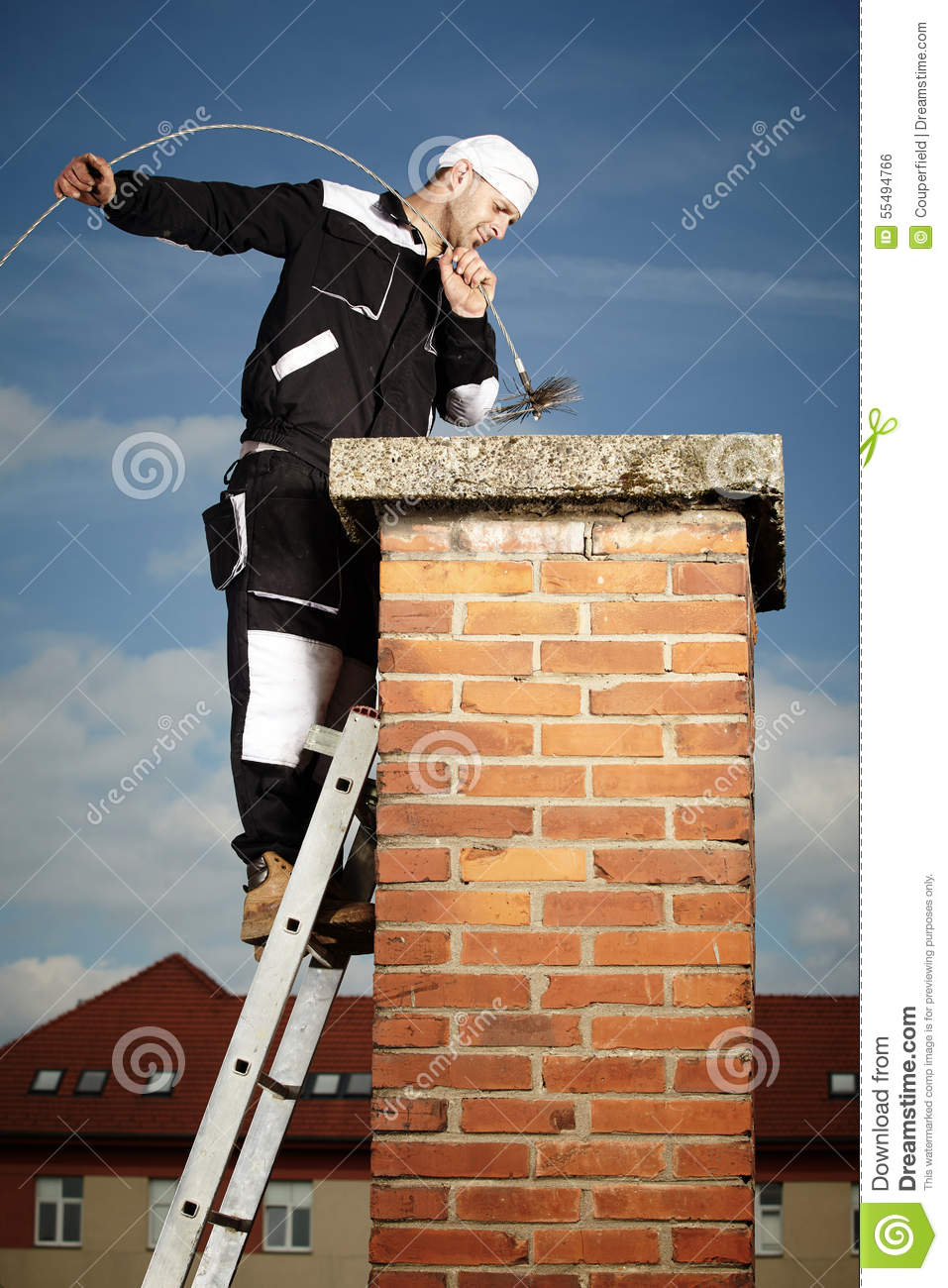 Cleaning Chimney Stock Photo Image Of Standing Black