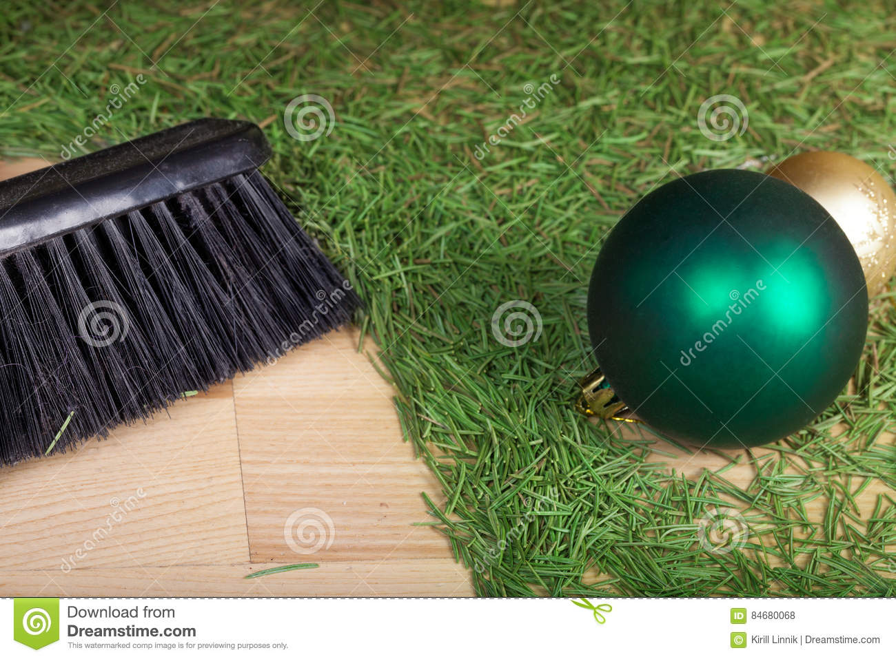 Download Cleaning After The Christmas Party Stock Photo - Image of christmas, evergreen: 84680068