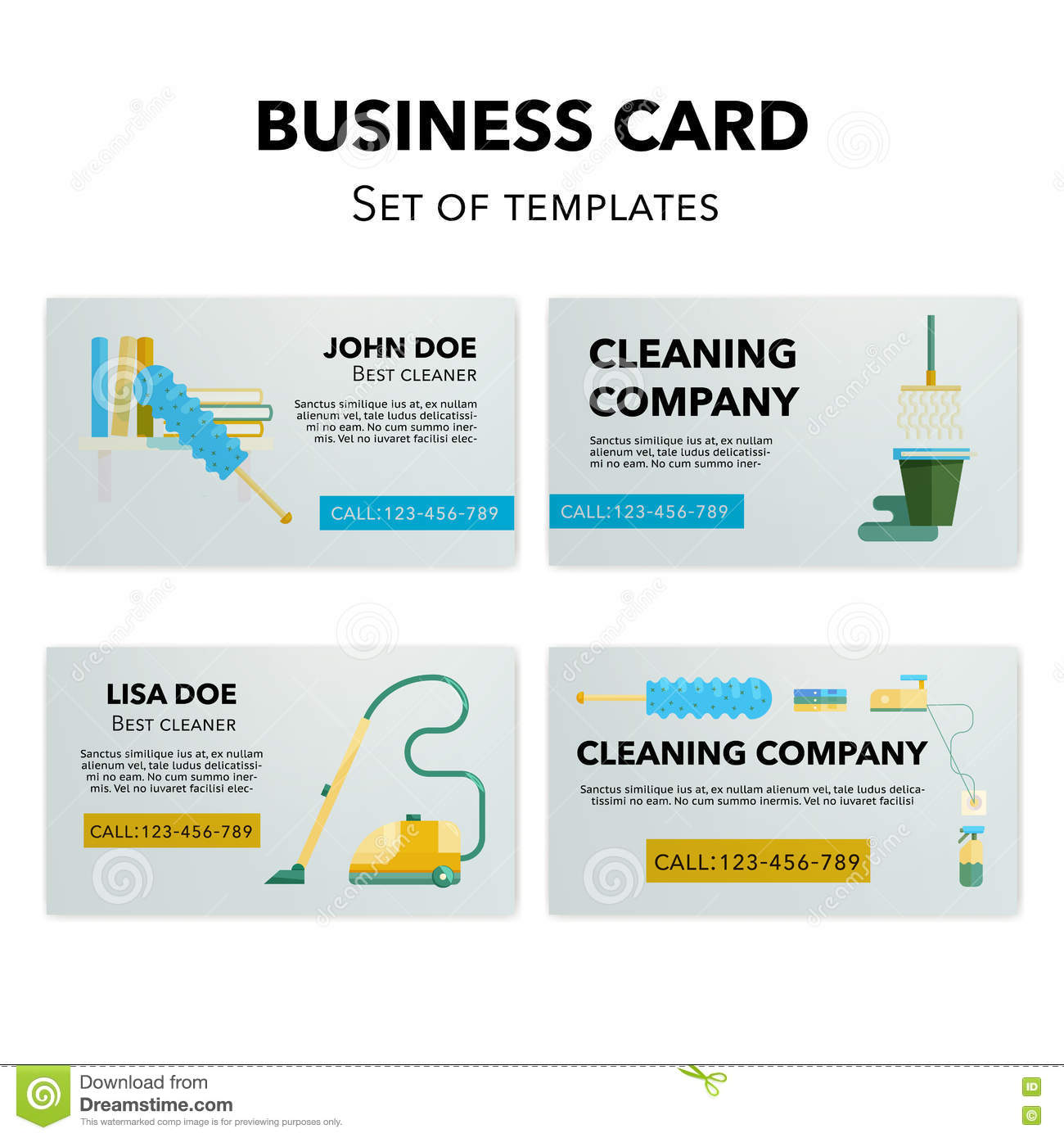 cleaning company business cards set stock vector illustration of