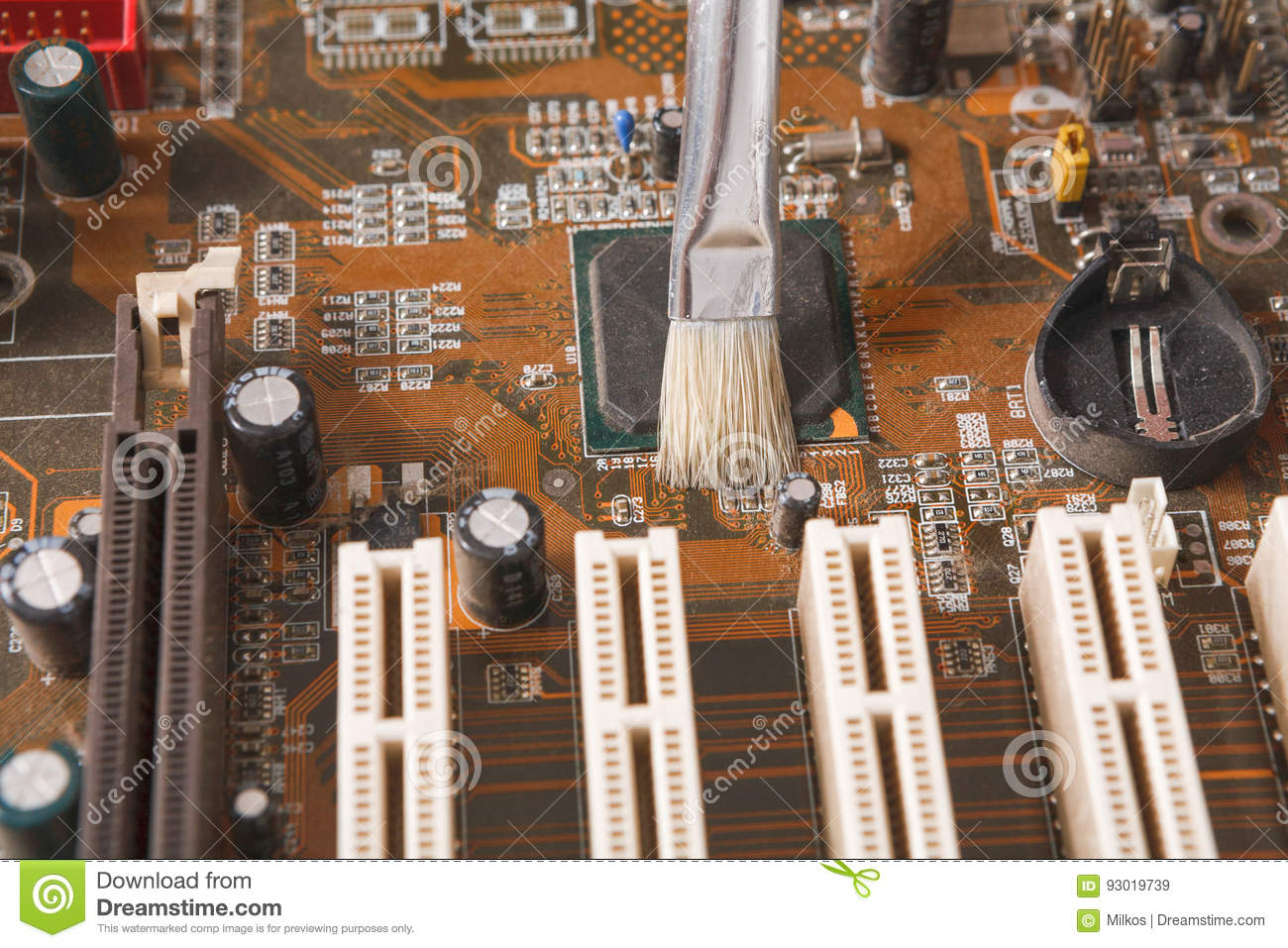 Cleaning Computer Components Close Up Stock Image - Image of dirty