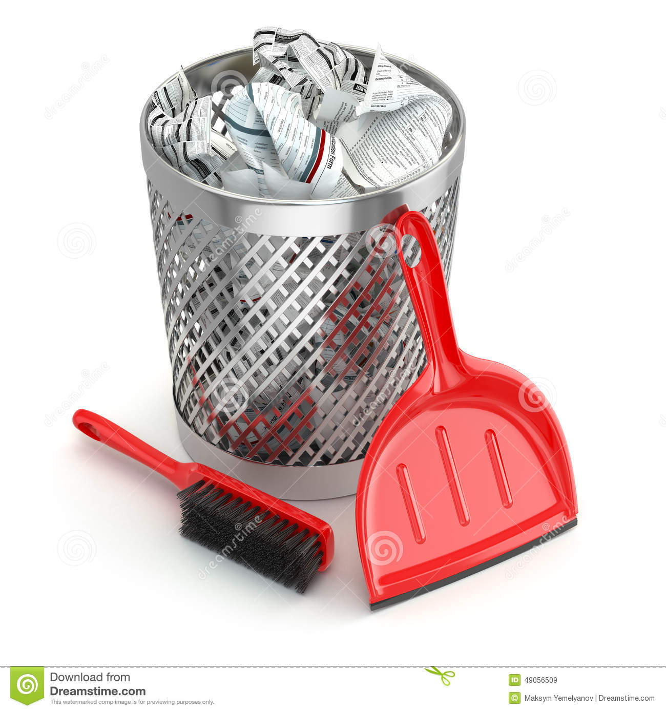 Cleaning Concept.Garbage Bin, Dustpan Or Scoop And Brush