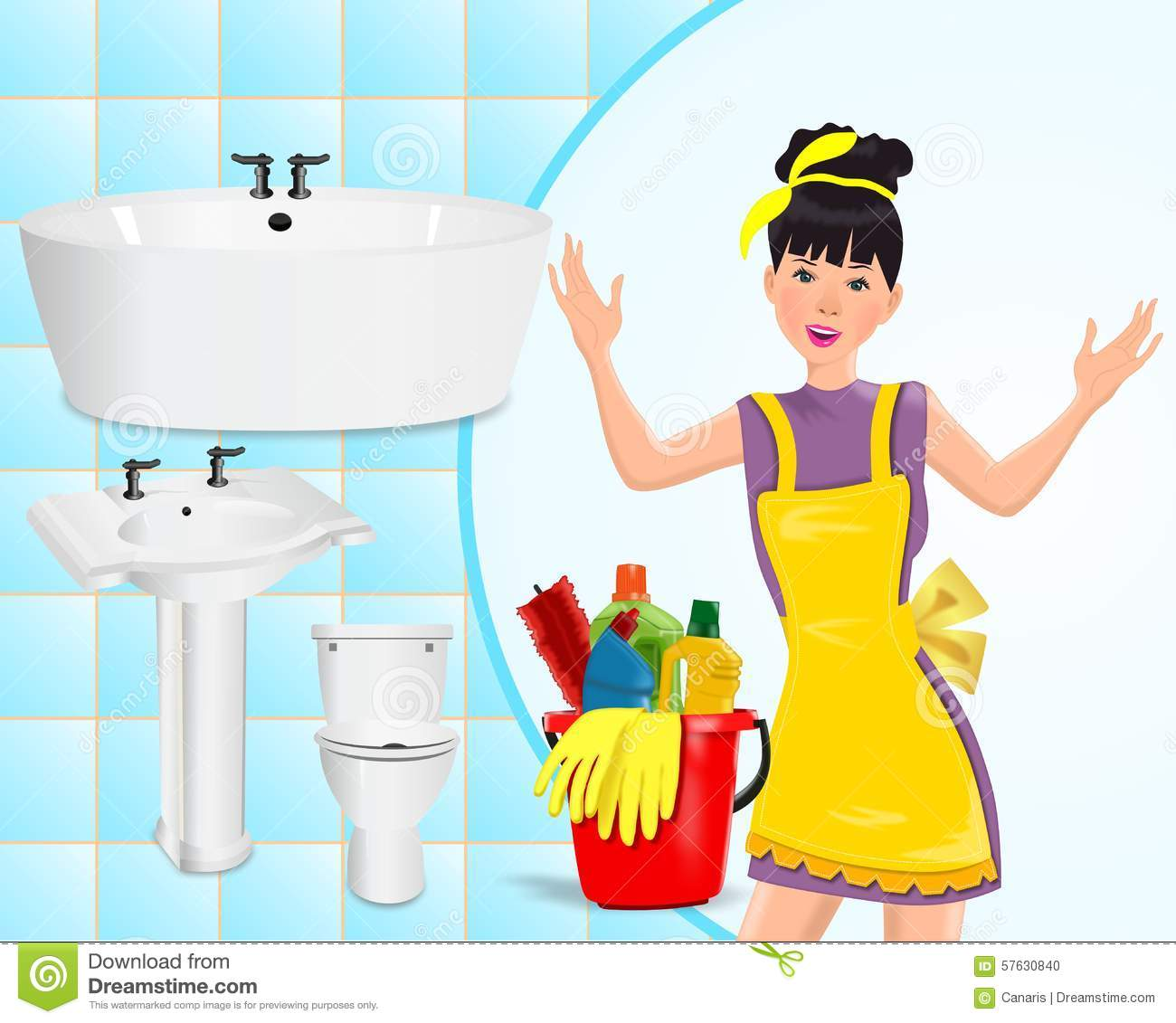 Cleaning concept stock illustration. Image of bathroom ...