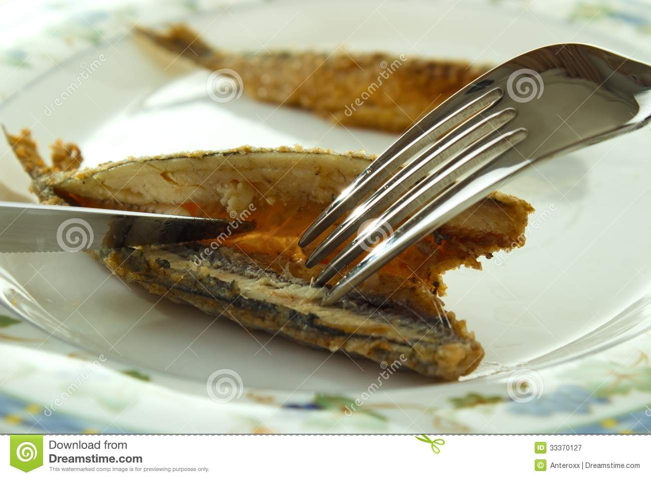 Cleaning cooked fis stock image image of utensil prepare for What to eat with fried fish
