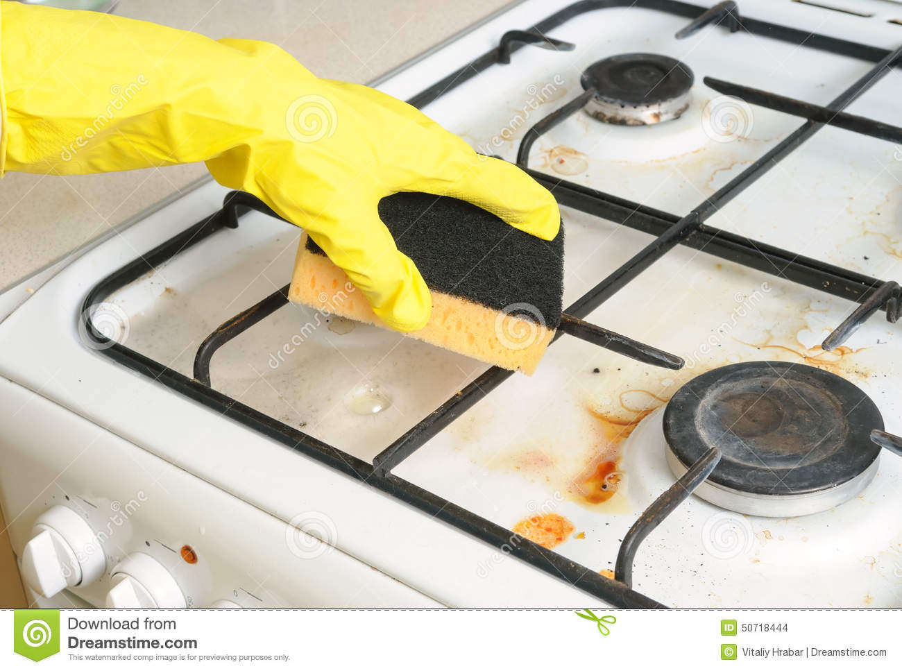 how to clean cookedon gunk from a stove top