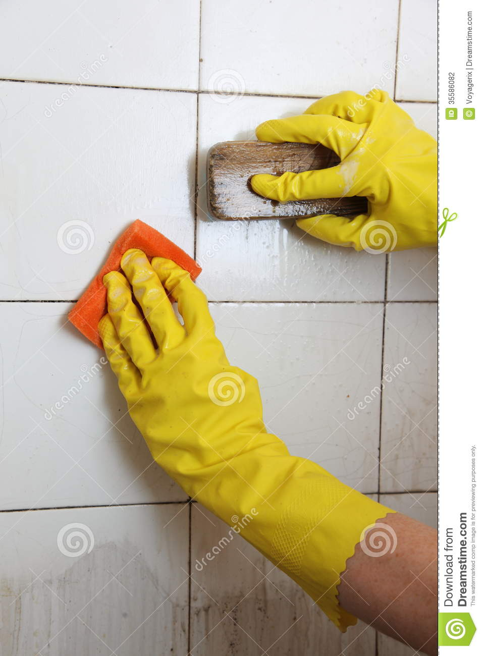 Cleaning Dirty Bathroom Tiles. Cleaning Of Dirty Old Tiles In A Bathroom