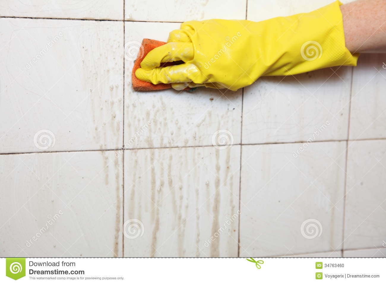 Cleaning Of Dirty Old Tiles In A Bathroom Stock Photo Image 34763460