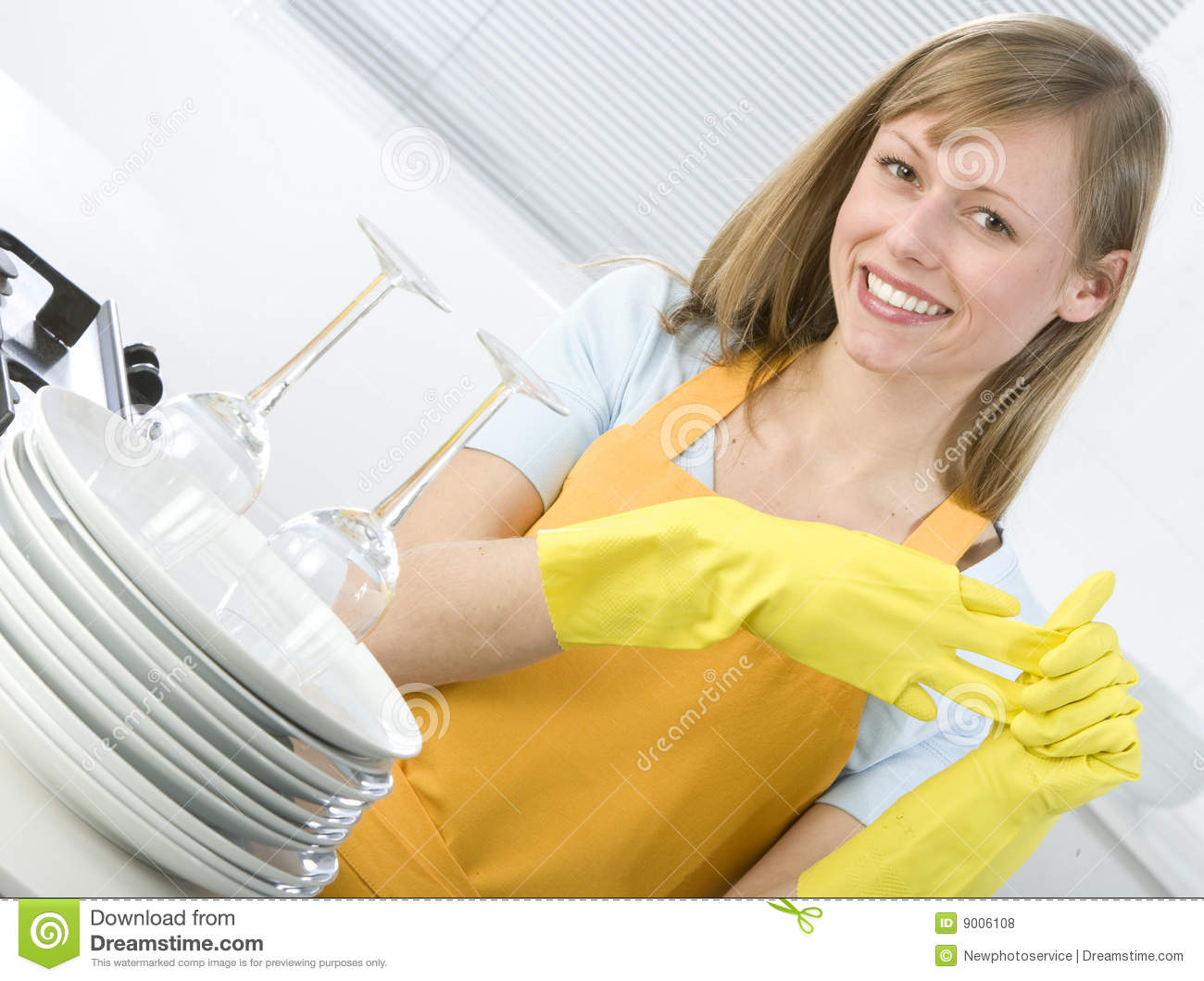 Cleaning dishes woman