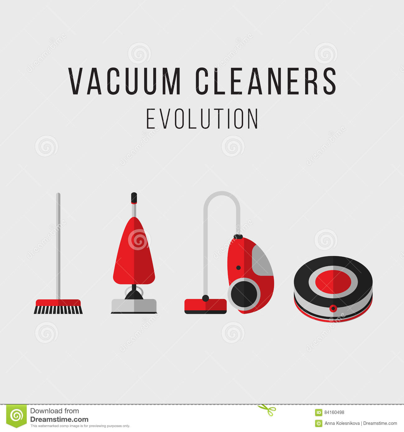 cleaning equipment set  vacuum cleaners evolution  icons