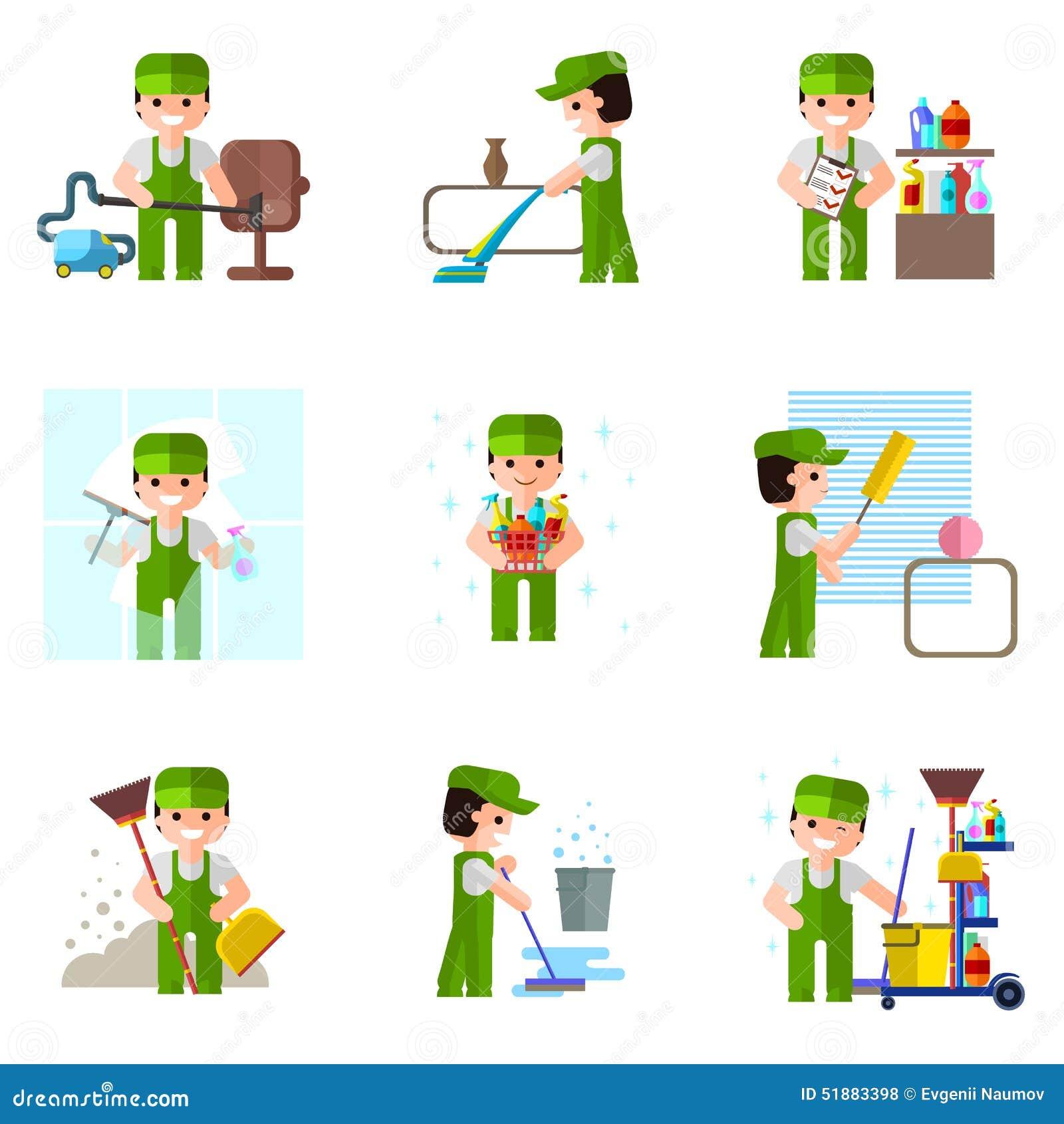 Cleaning firma, wektorowa ikona, profesjonalista