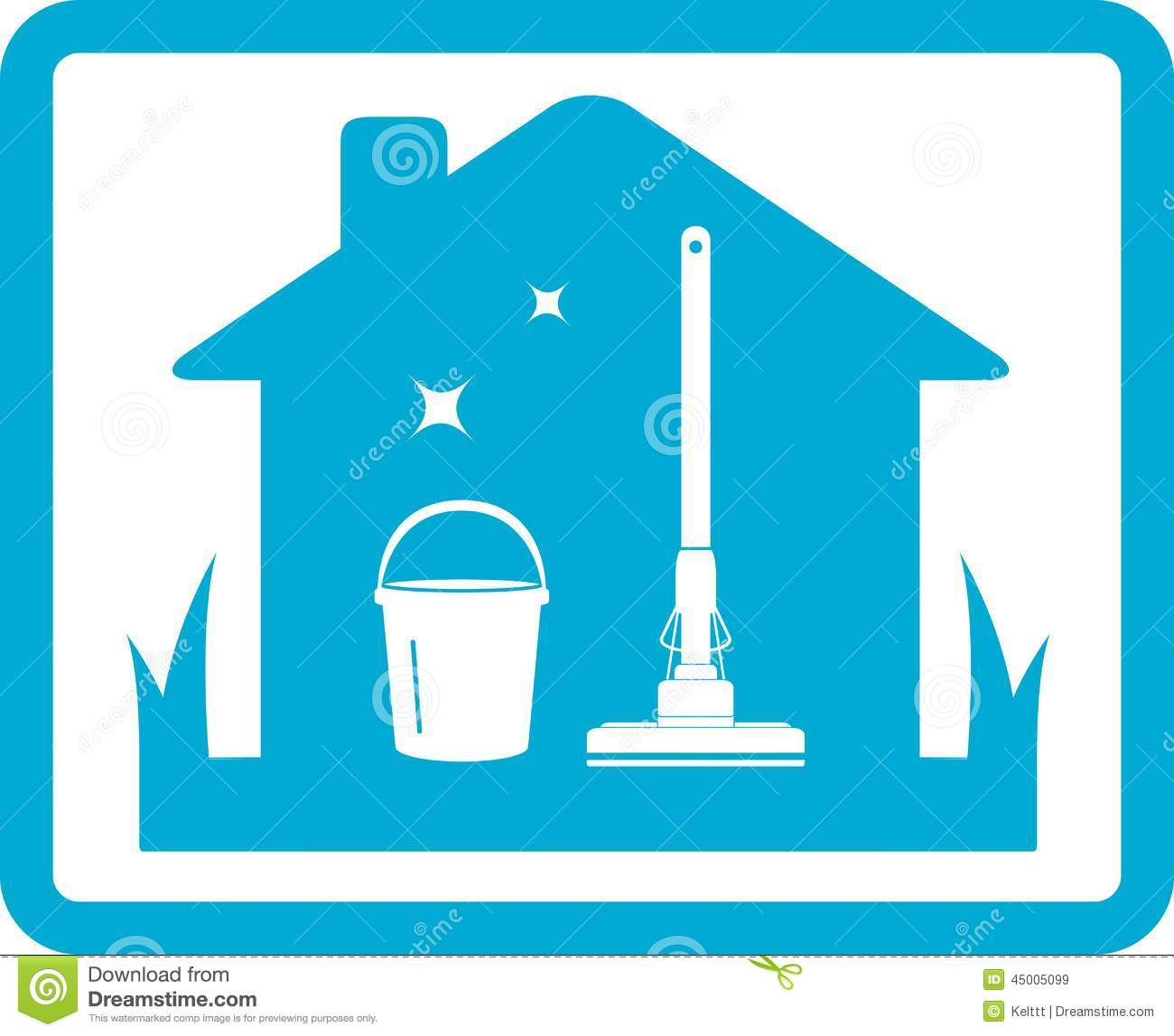 cleaning home icon isolated blue frame 45005099