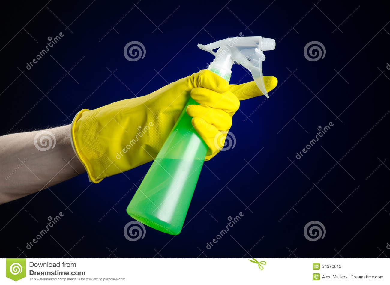 Cleaning The House And Cleaner Theme: Man's Hand In A Yellow