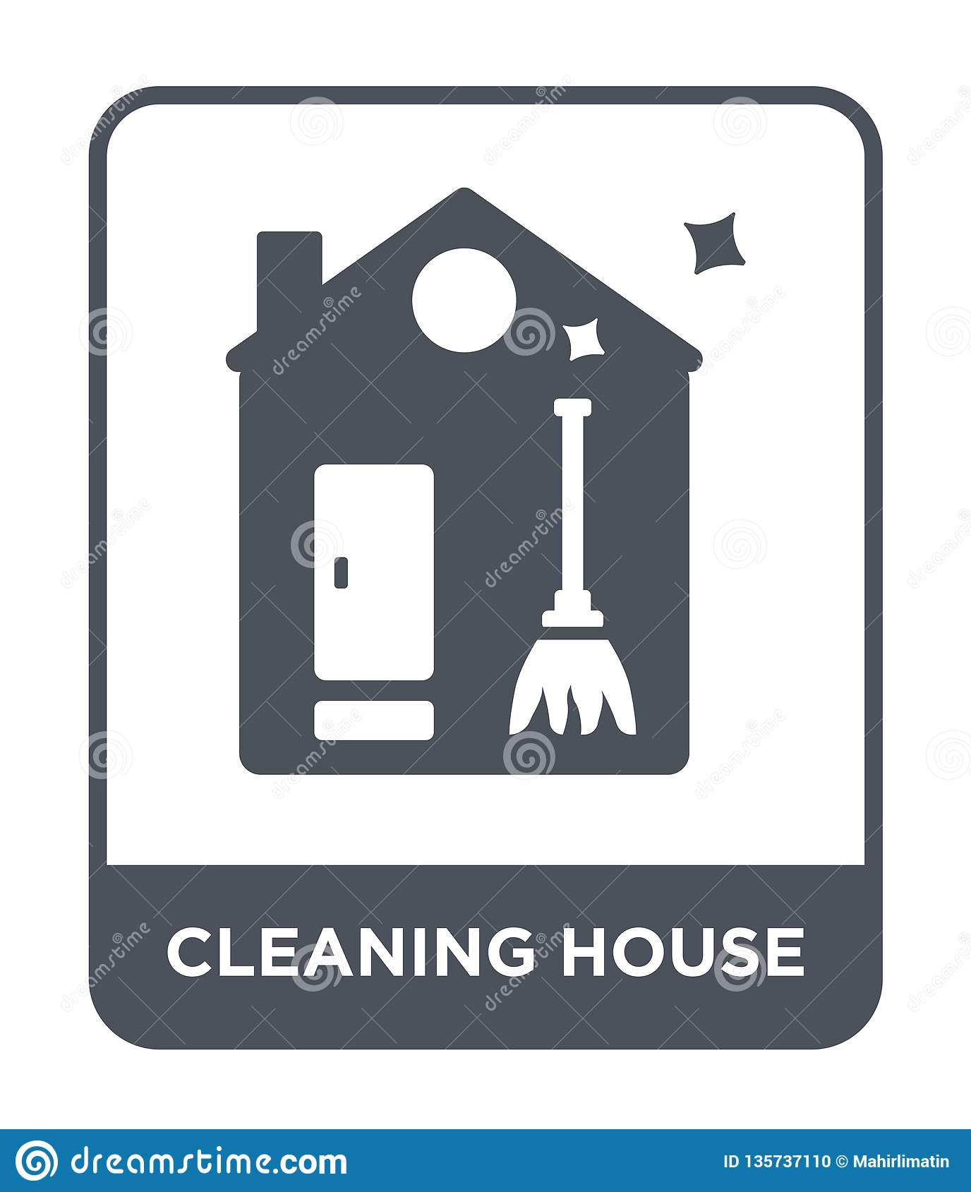 cleaning house icon in trendy design style. cleaning house icon isolated on white background. cleaning house vector icon simple