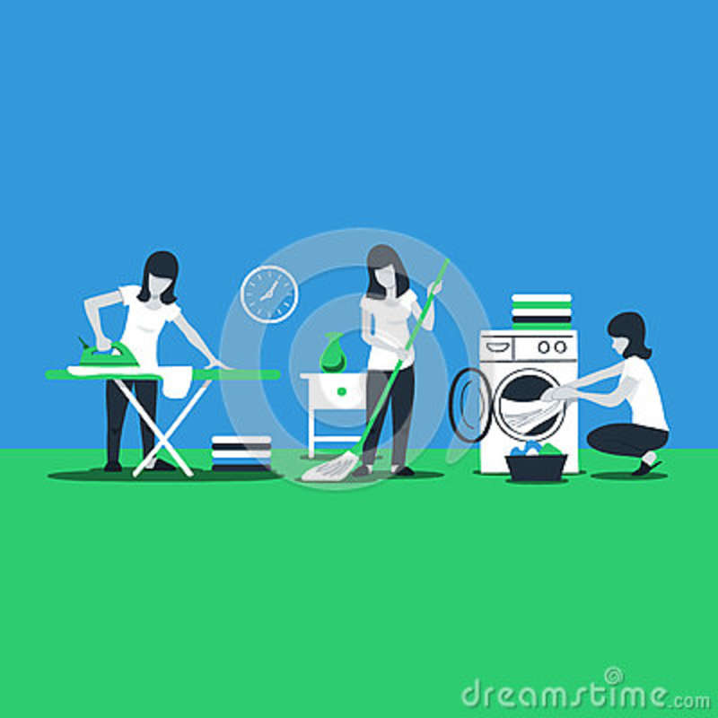 Cleaning House Services Woman Ironing Stock Vector Illustration