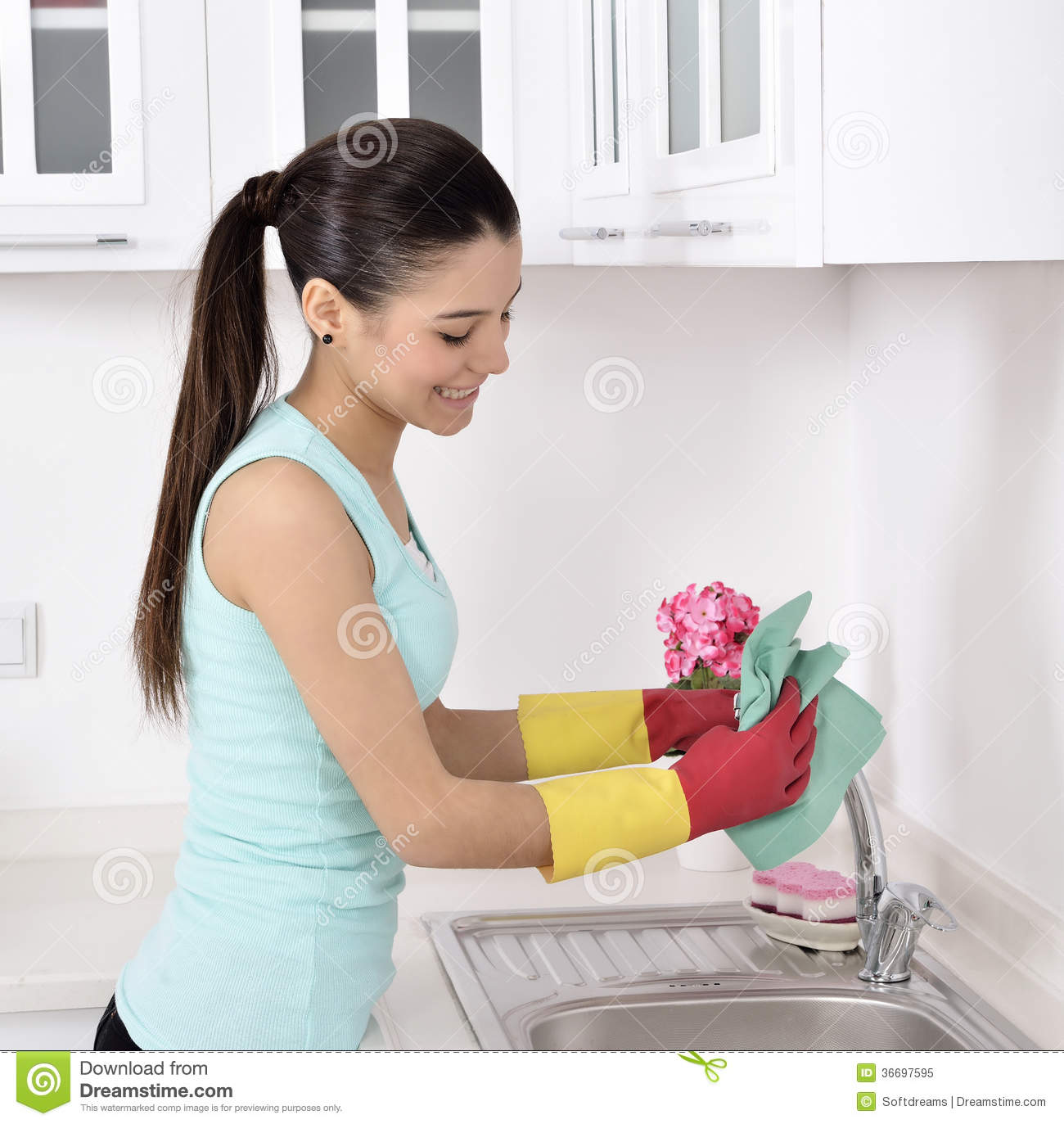 Woman cleaning house candid — 8