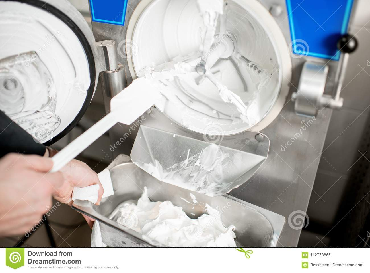 Cleaning Ice Cream Maker Machine Stock Image Image Of Food Metal 112773865