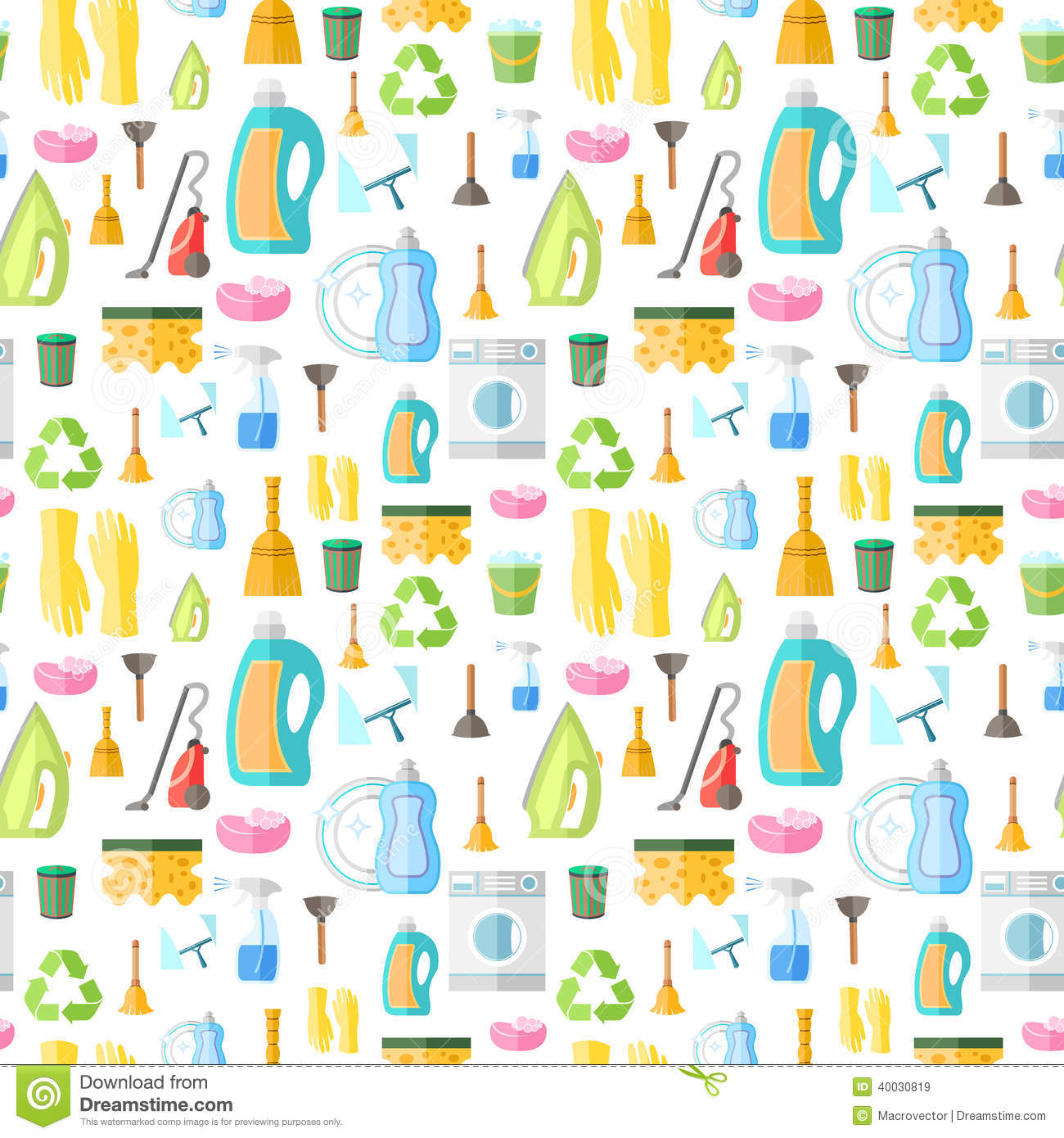 Cleaning washing housework dishes broom bottle sponge icons seamless ...