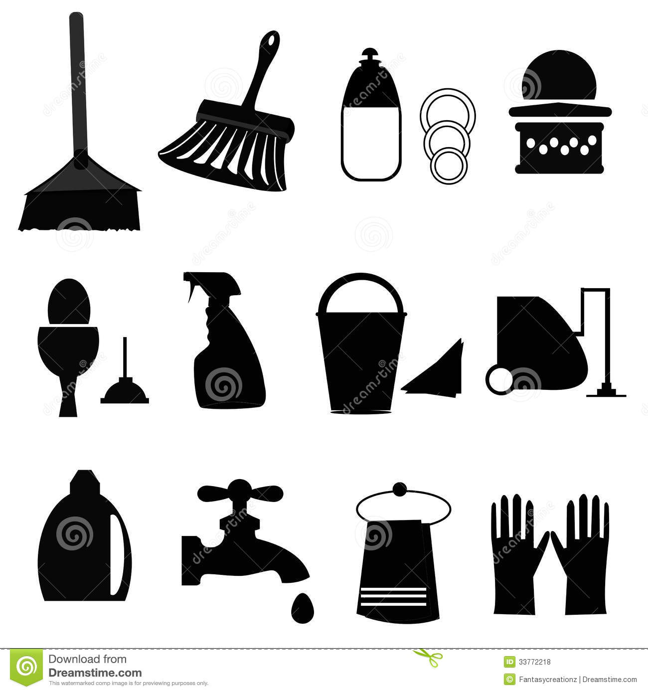 cleaning icons stock vector illustration of housework 33772218