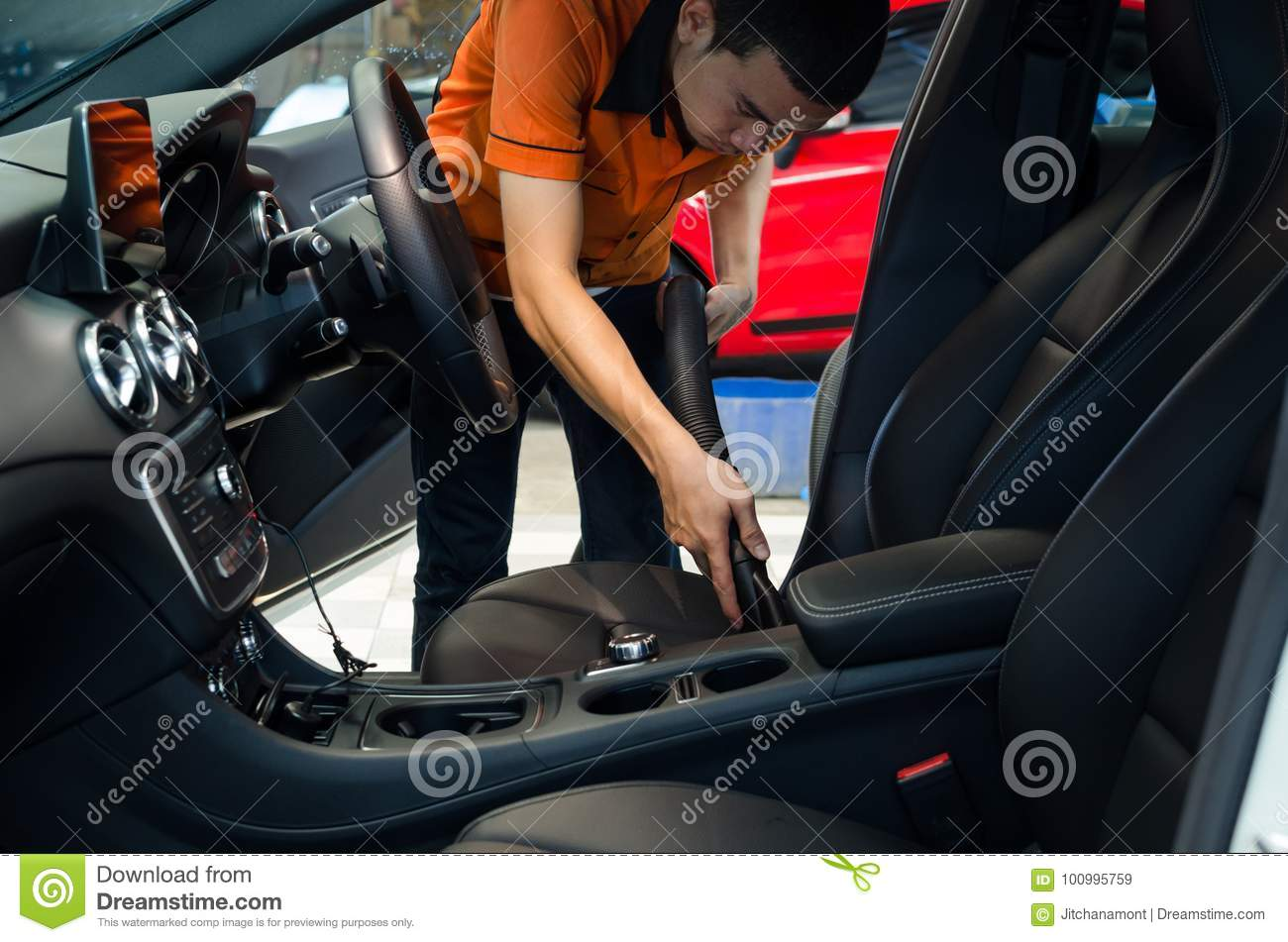 Download Cleaning Of Interior Of The Car With Vacuum Cleaner Stock Image    Image Of Clean