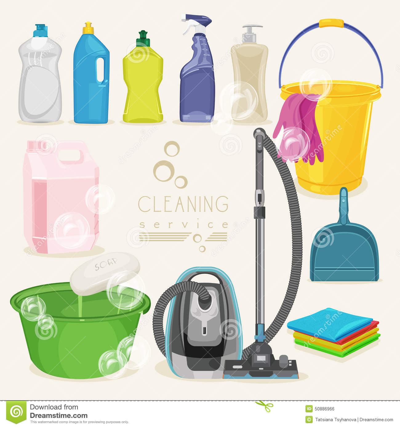 Cleaning Kit Icons Supplies Stock Vector Illustration