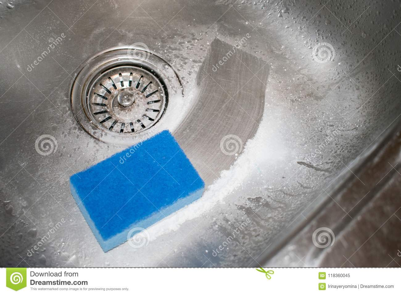 Cleaning Kitchen Sink. How To Clean The Stainless Steel Sink Wit ...
