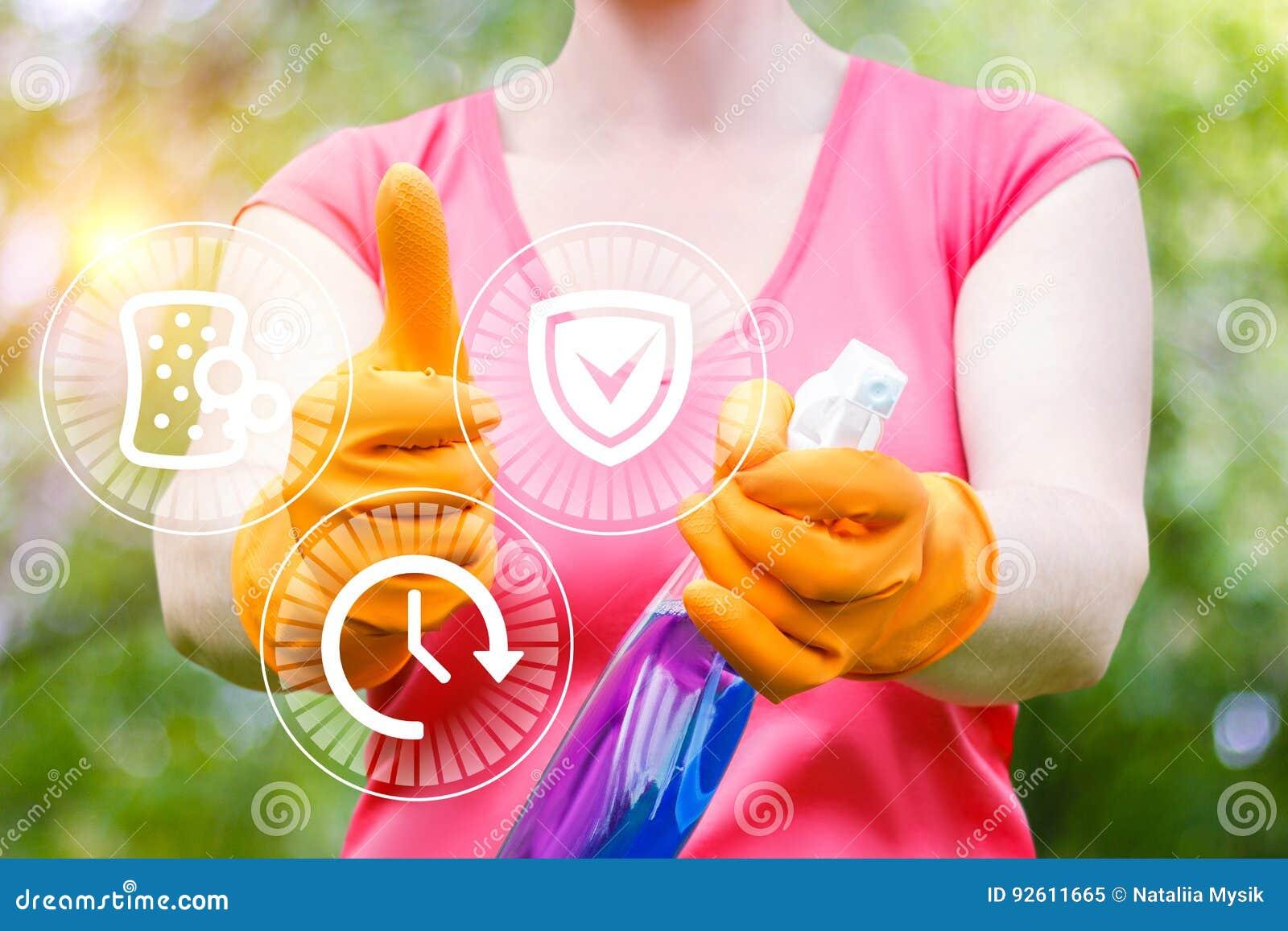 Cleaning kobiety przedstawienia ilości usługa