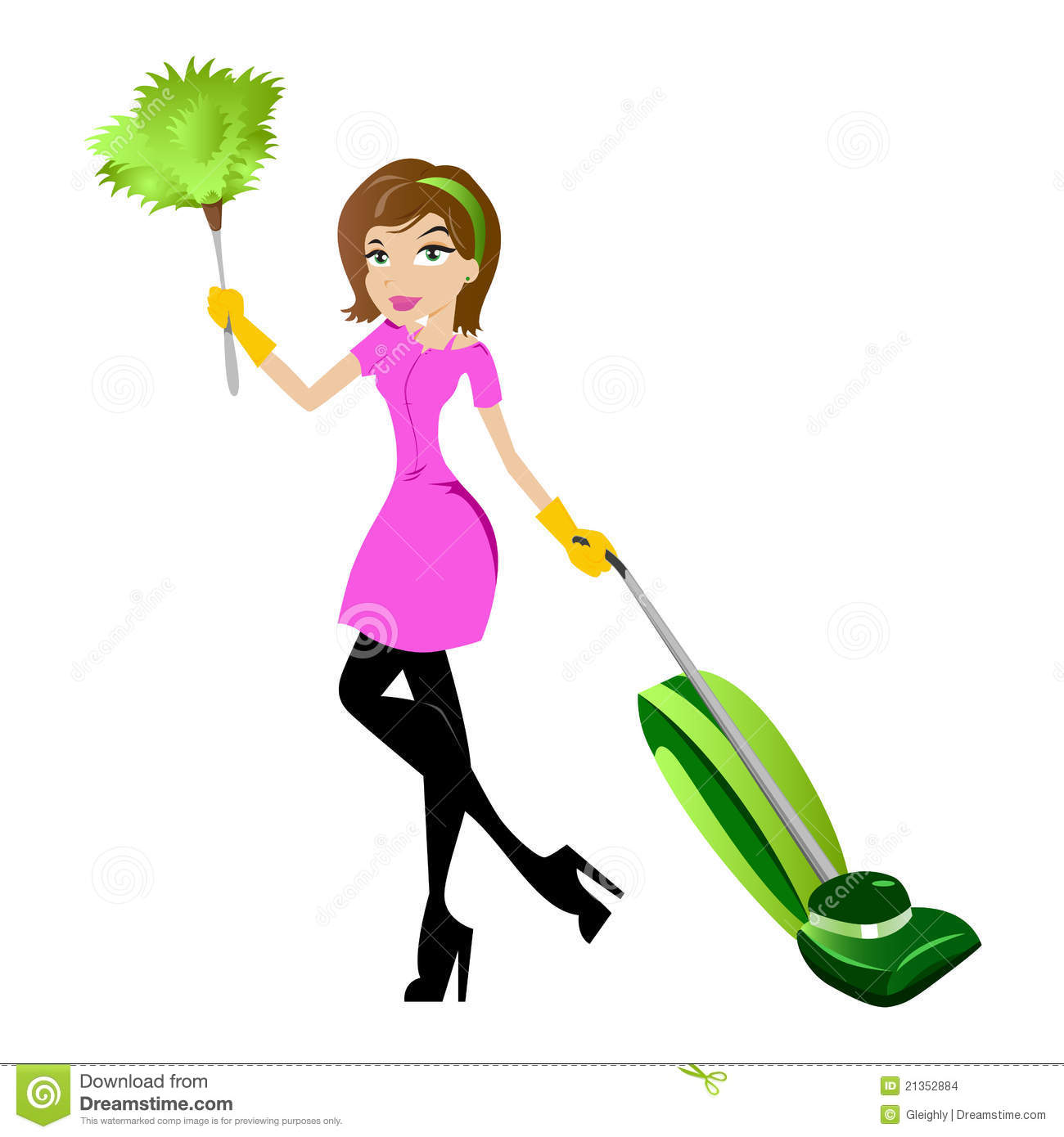 Cleaning lady character with vacuum and feather duster.
