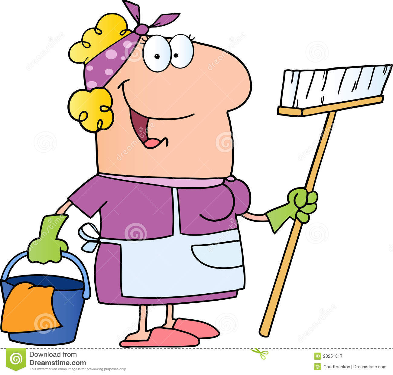 Cleaning Lady Cartoon Character Royalty Free Stock