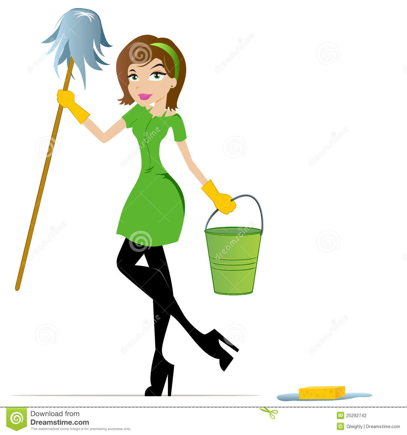 Cleaning Lady Cartoon Mascot Stock Photography Image 25292742