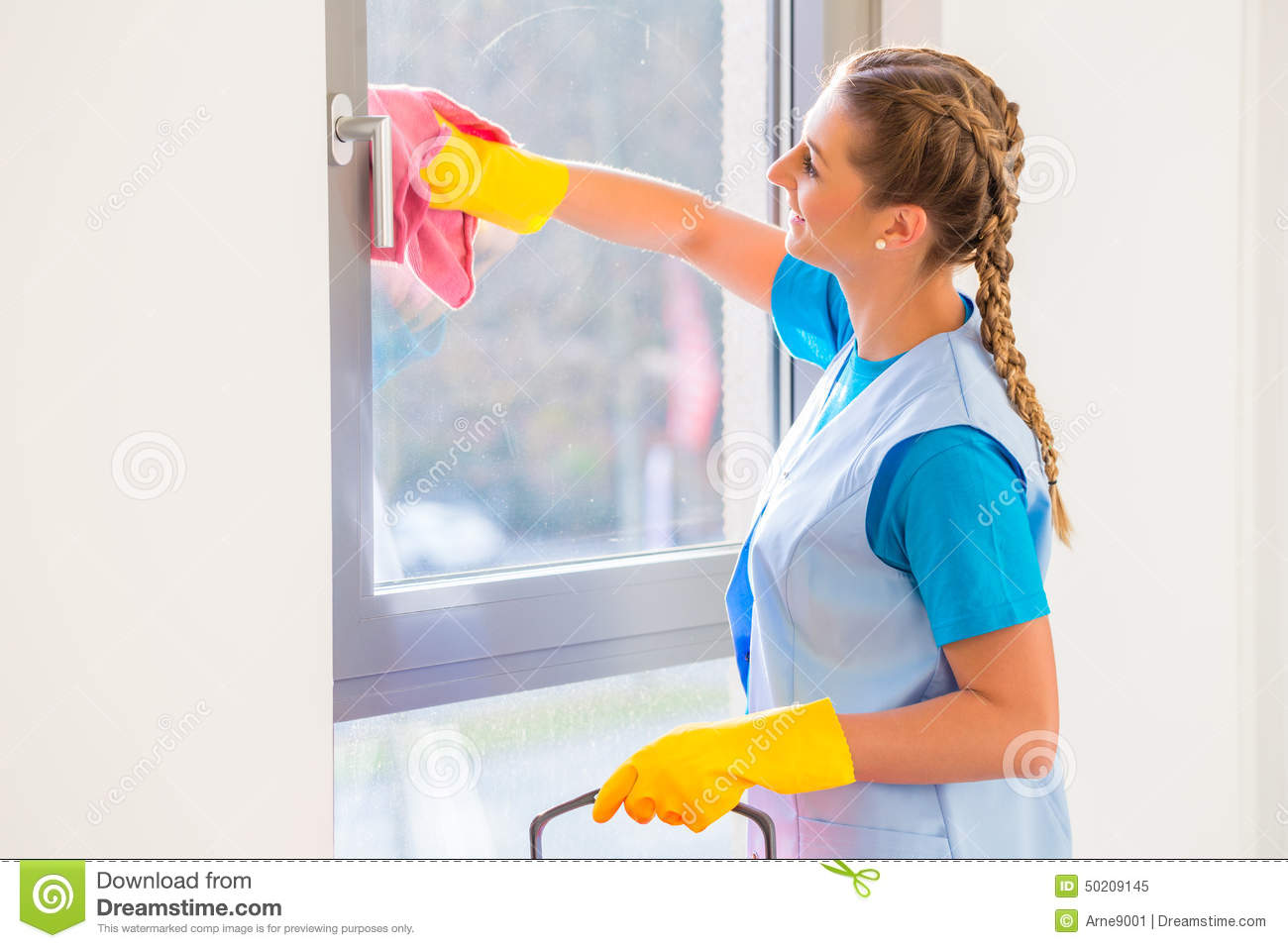Cleaning lady with cloth