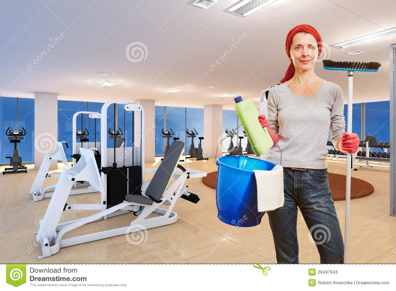 Cleaning lady in fitness center stock photos image 29497843 for Lady fitness