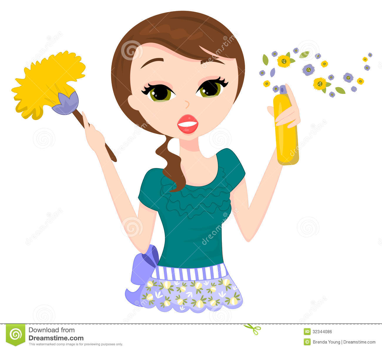 Illustration of a plain Jane lady cleaning and spray dusting.