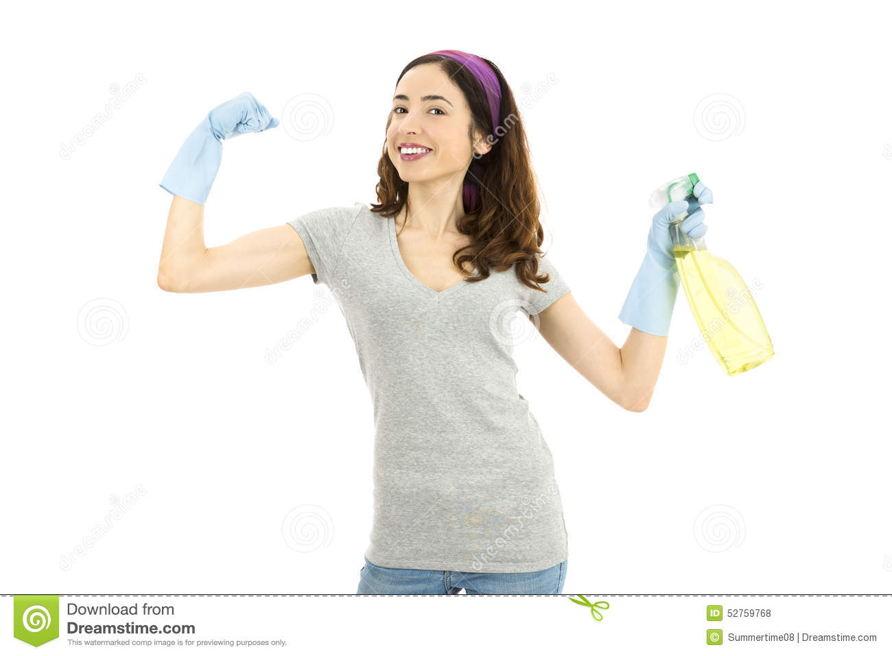 Cleaning lady with strong arms and holdig a spray bottle.