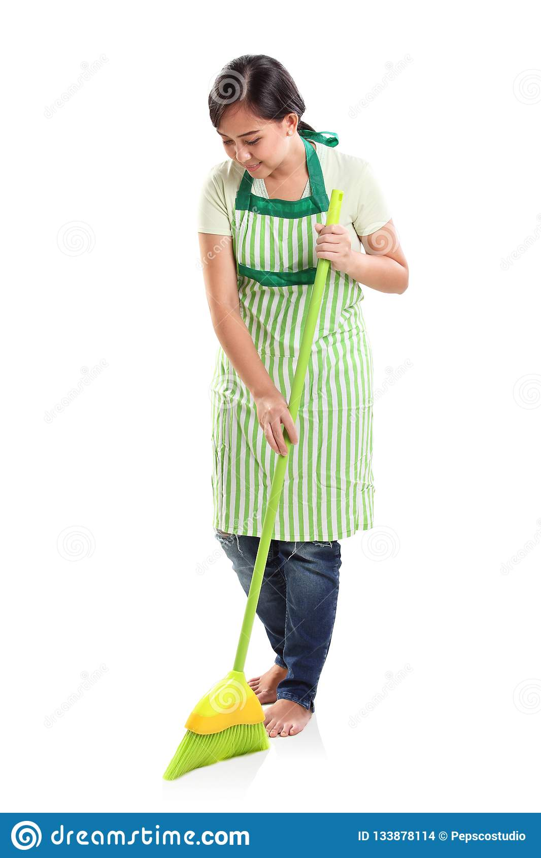 Female Janitor Cleaning Floor Stock Photography