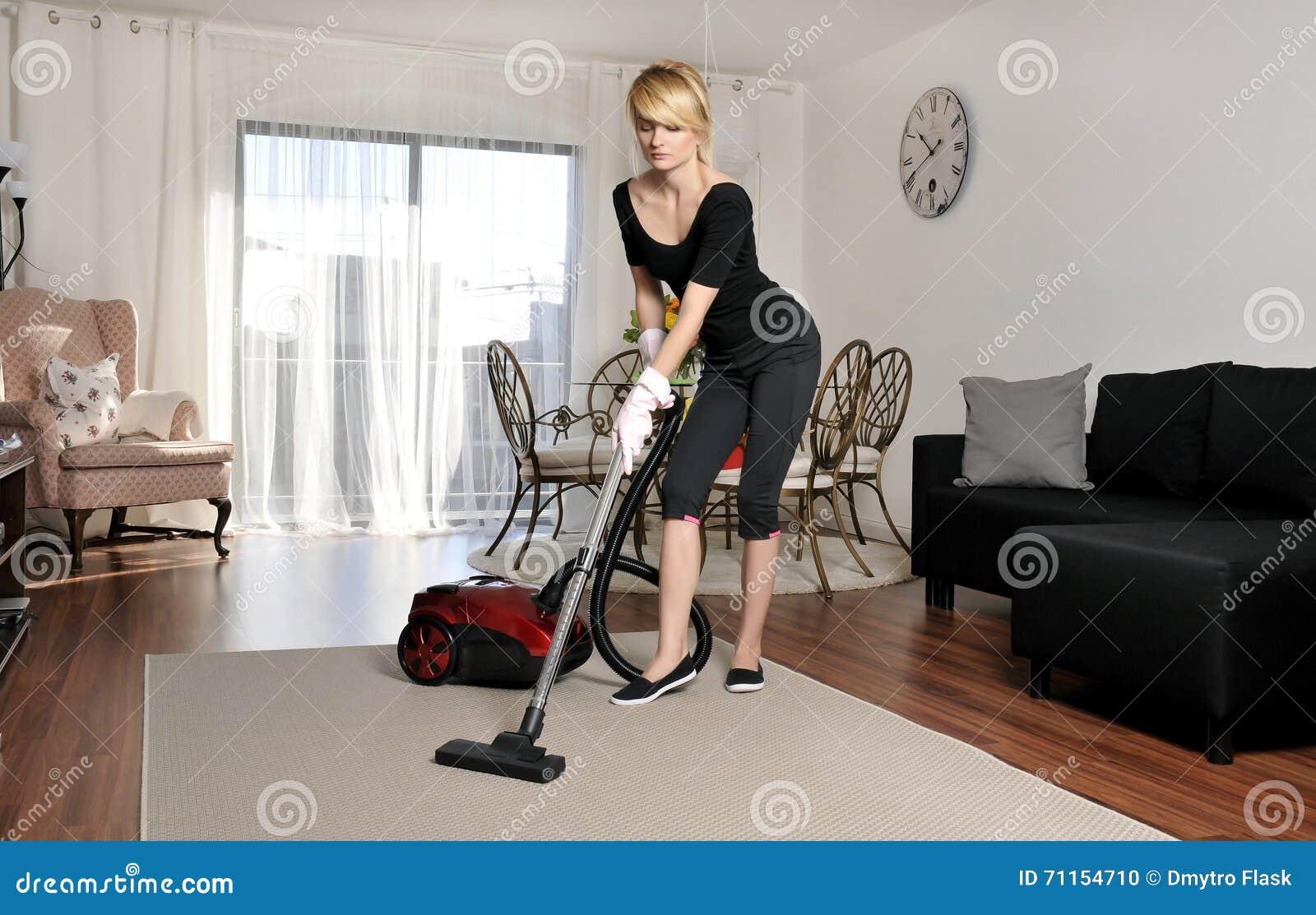 Woman Vacuuming At House Vector Illustration