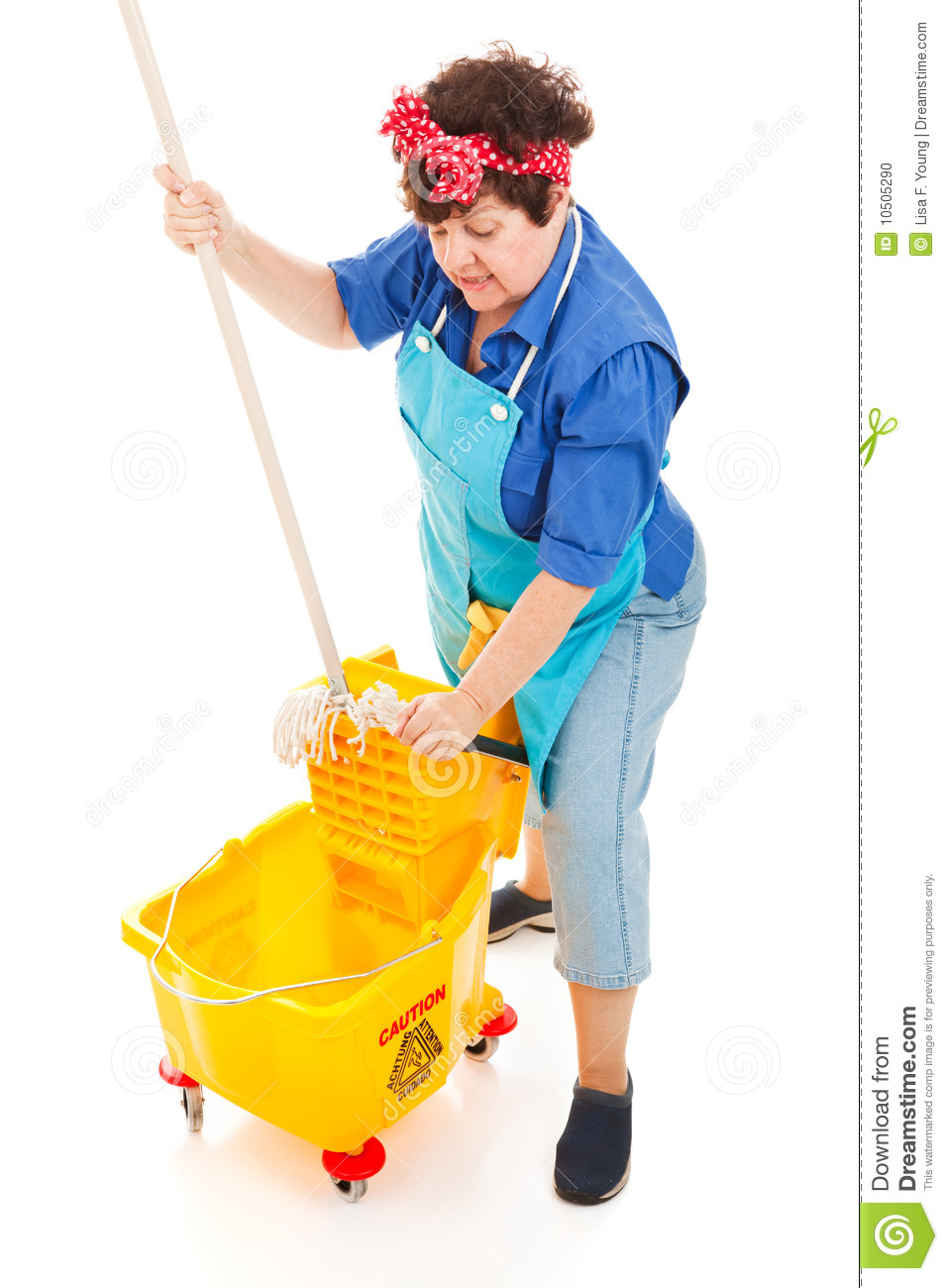 Cleaning Lady Wrings Mop Stock Photo Image 10505290