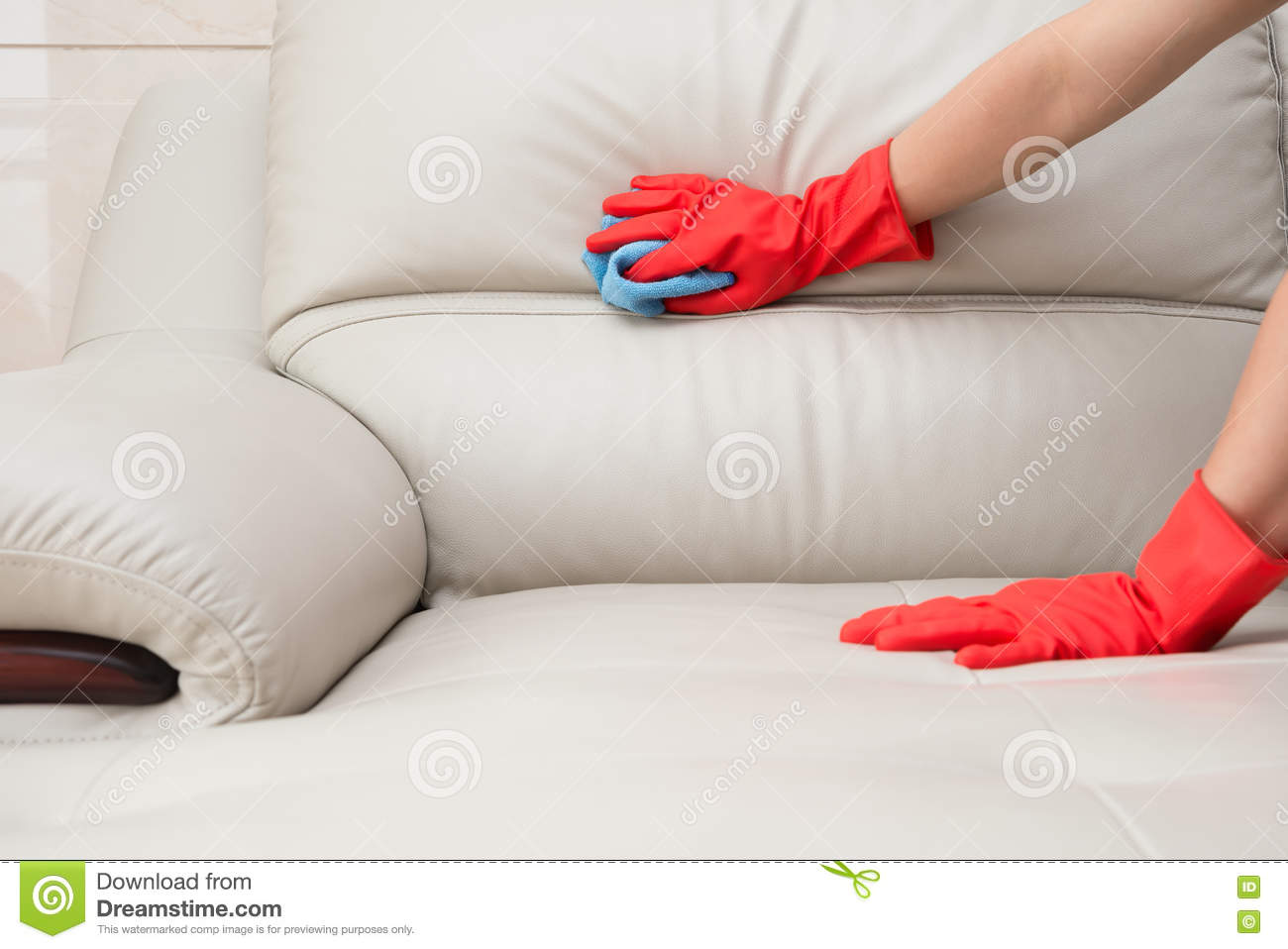 Cleaning Leather Sofa Royalty Free Stock Image